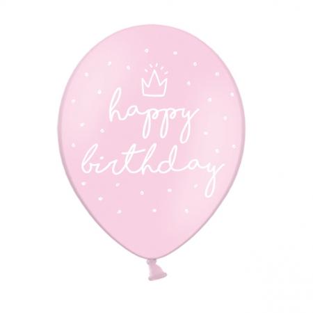 "6 ballons rose pastel ""happy birthday"""