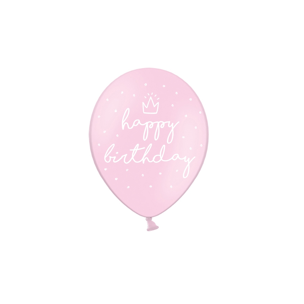 "6 ballons rose pastel ""happy birthday"""