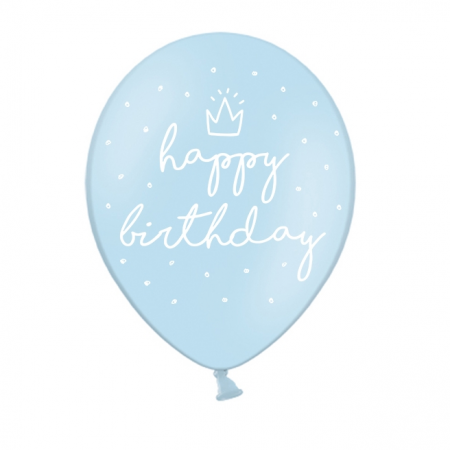"6 ballons bleu ciel ""happy birthday"""