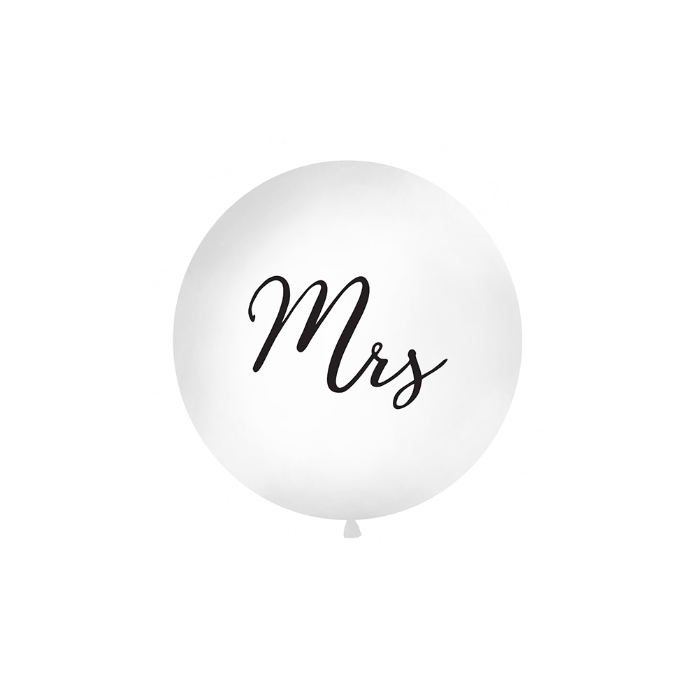 "Ballon géant blanc ""Mrs"" - 1 m"