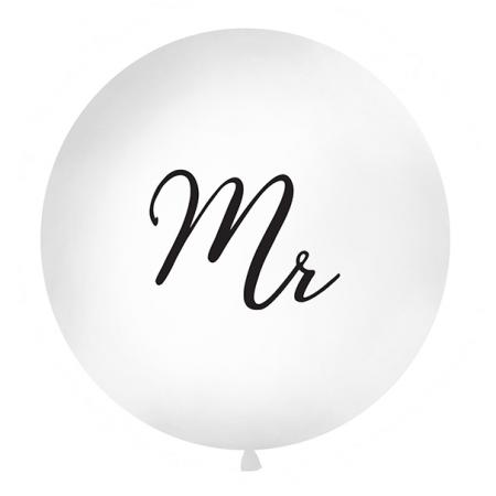 """Ballon géant blanc """"Mr"""" - 1 m"""