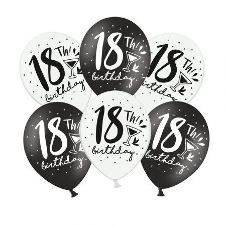 """Lot de 6 ballons noir et blanc """"18 ans"""""""