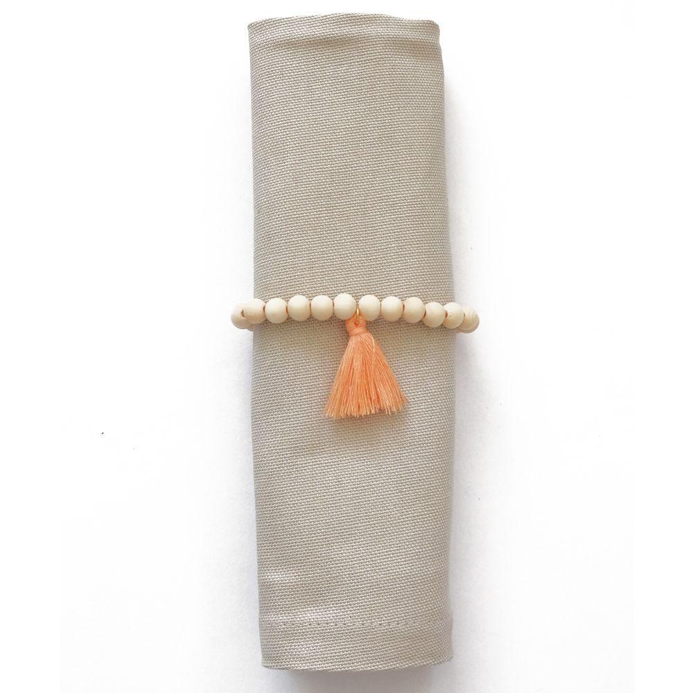 Rond de serviette perles en bois et pompon pêche