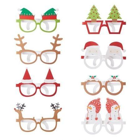 8 paires de lunettes de noël