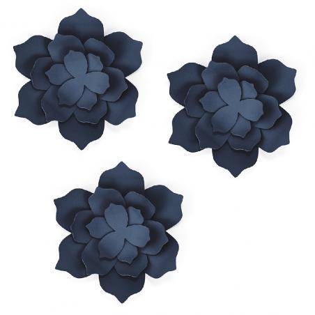 3 fleurs bleues en papier