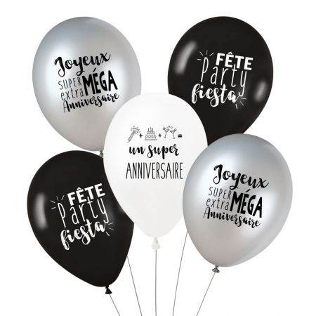 "Lot de 5 ballons ""super anniversaire - trendy"""