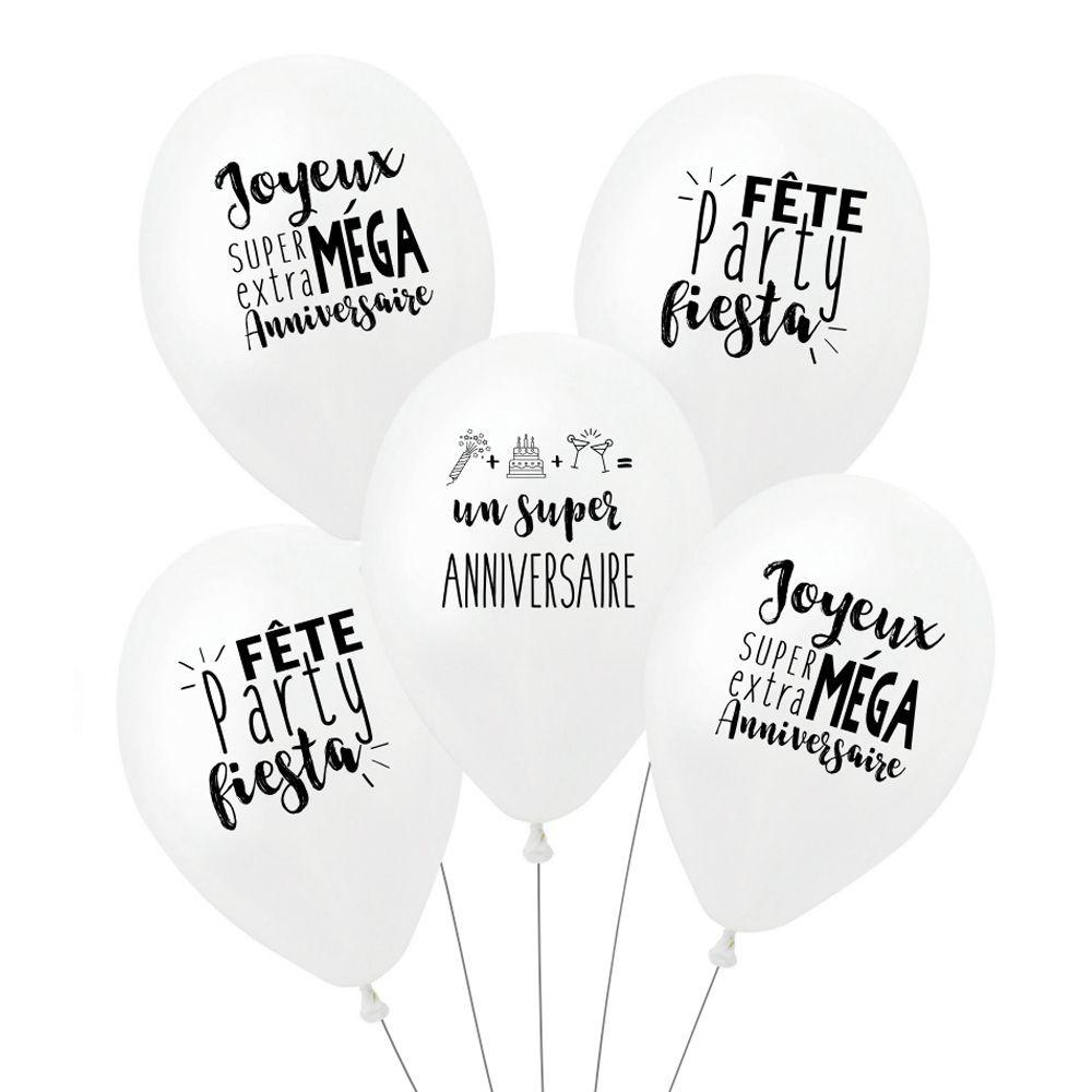 """Lot de 5 ballons """"super anniversaire - blanc"""""""