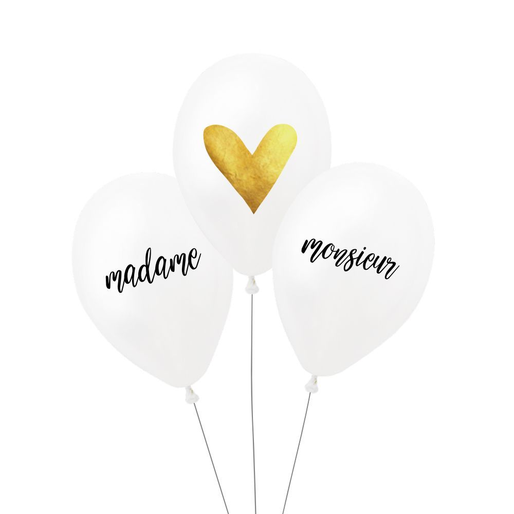 "Lot de 3 ballons ""madame - monsieur"""