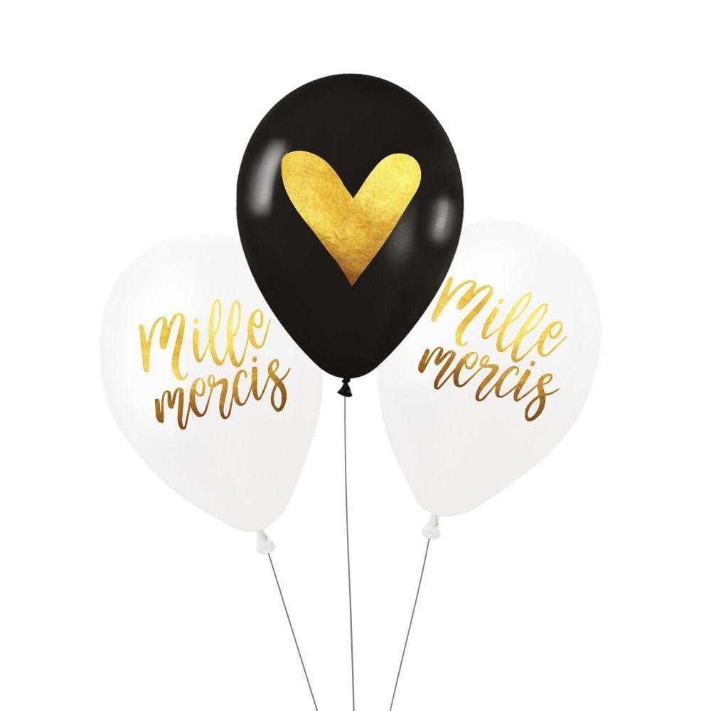 """Lot de 3 ballons """"mille mercis"""""""