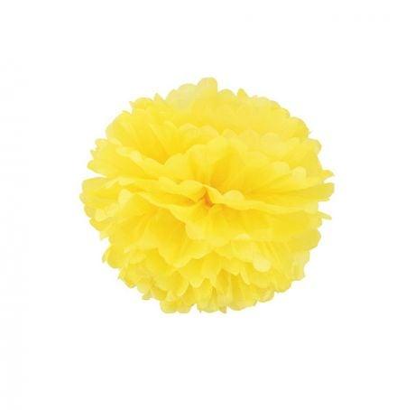 Pompon en papier jaune - 25cm