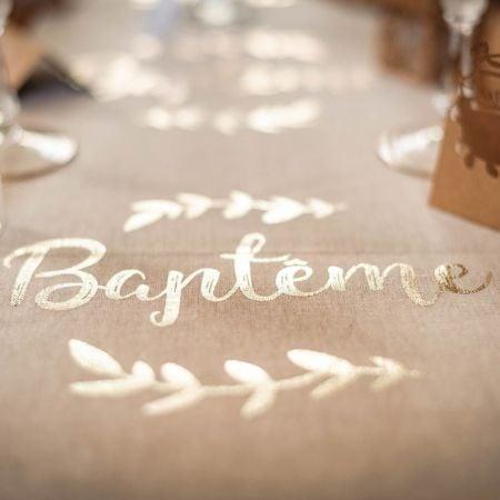 "5 m chemin de table lin ""baptême"" - 28 cm"