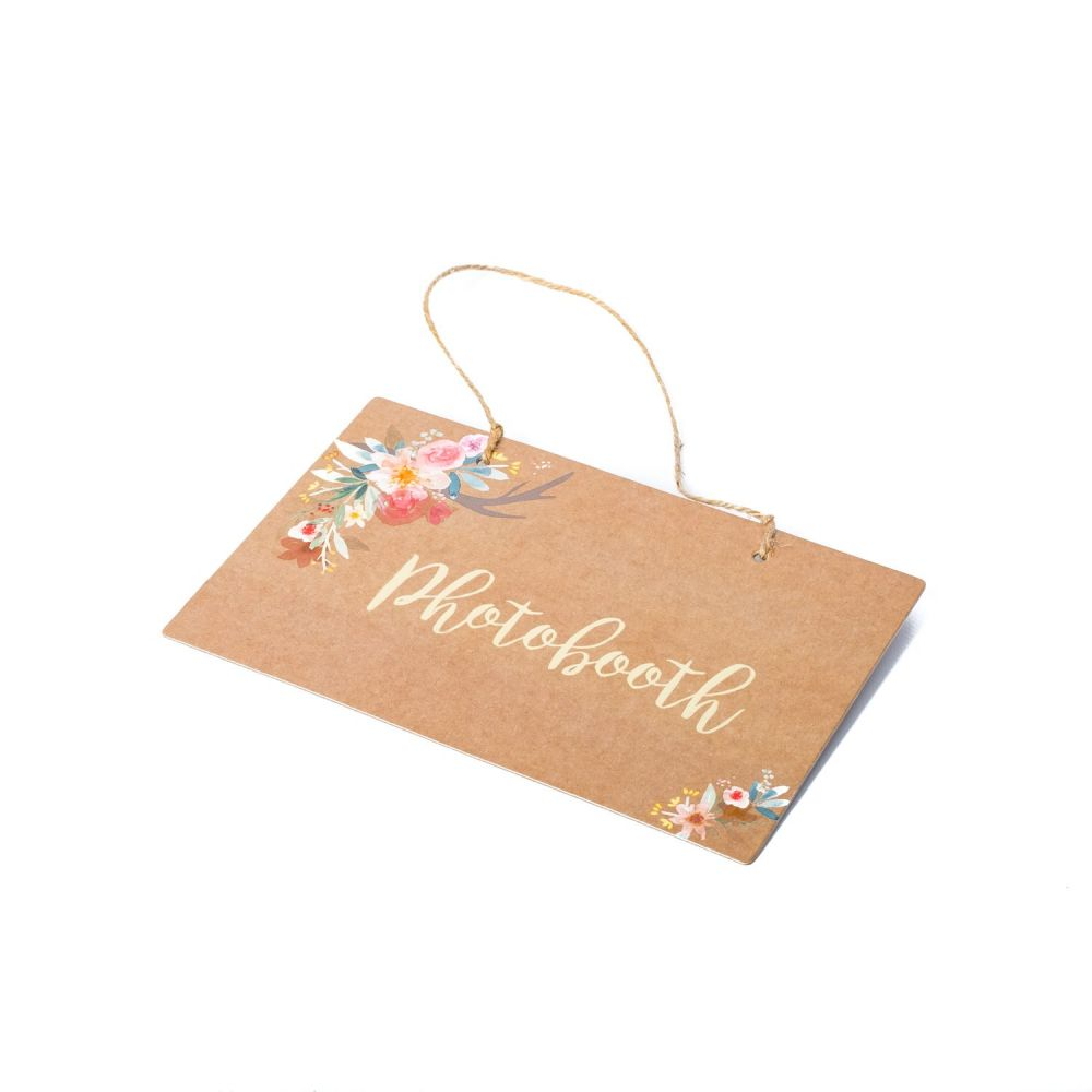 "Pancarte ""Photobooth"" kraft et fleurs"