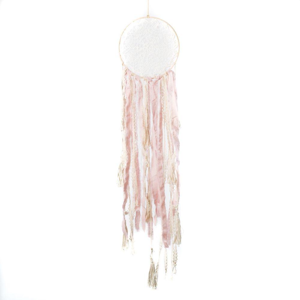 Attrape-rêves rose et crème - 70 cm