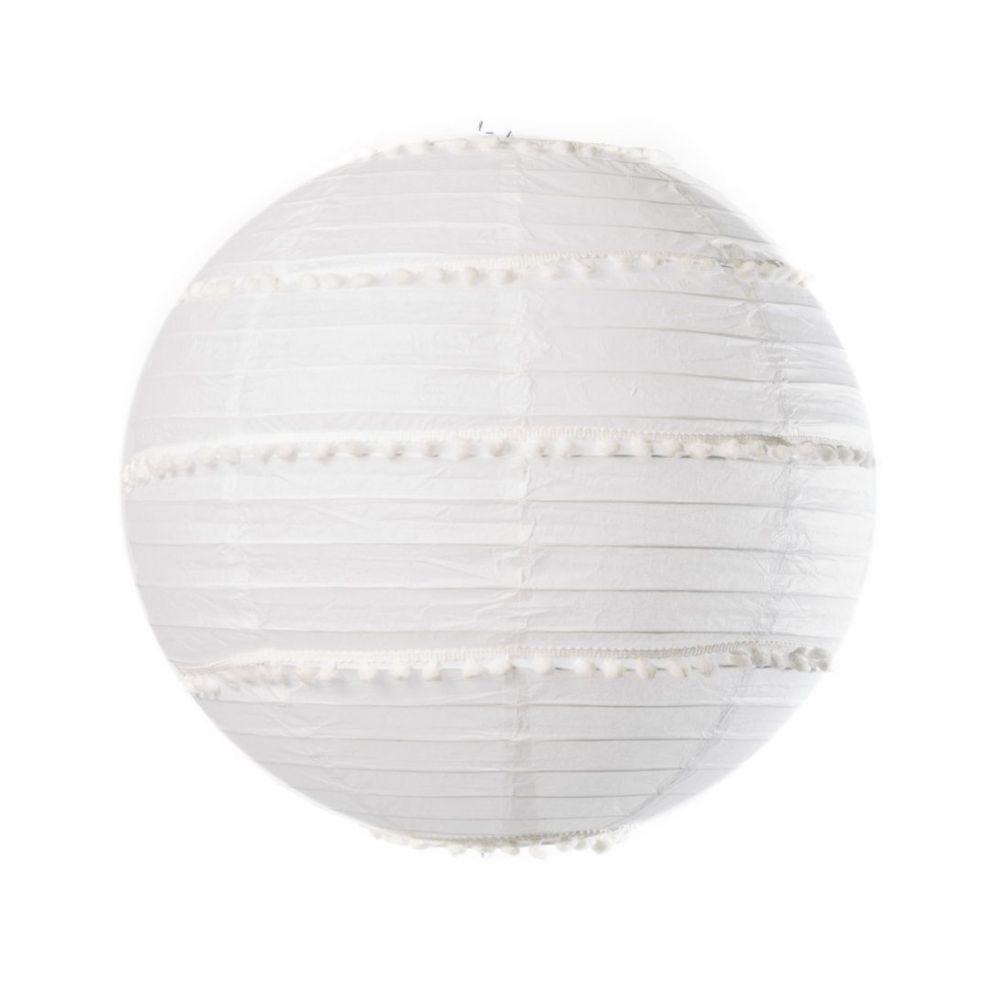 Lampion blanc avec pompons - 35 cm