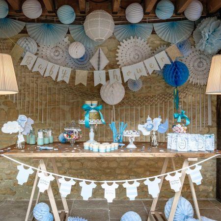 """Guirlande bleue """"baby-shower"""" - 3,50 m"""