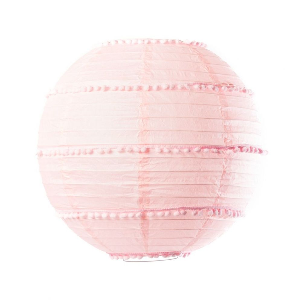 Lampion rose avec pompons - 35 cm