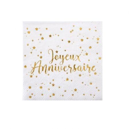 """20 petites serviettes """"joyeux anniversaire"""""""