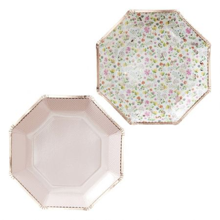 8 assiettes fleuries rose gold