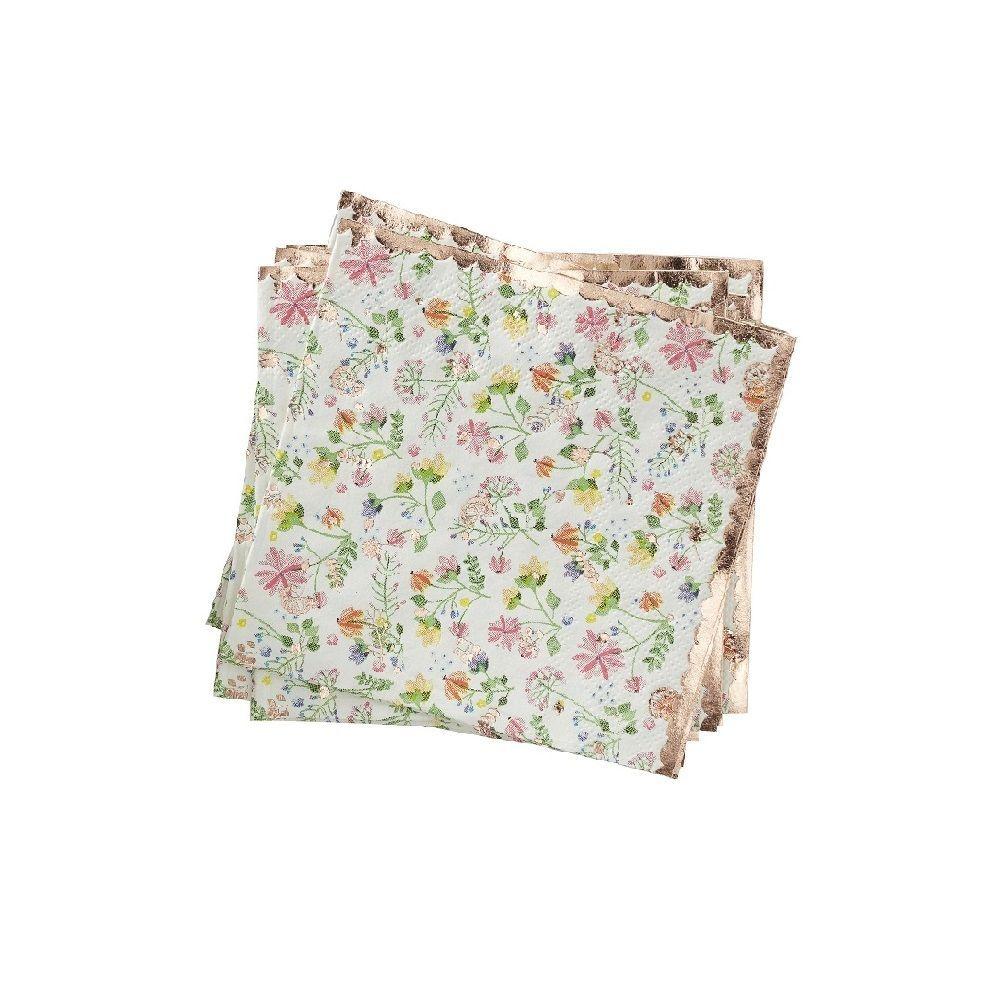 16 petites serviettes fleuries rose gold