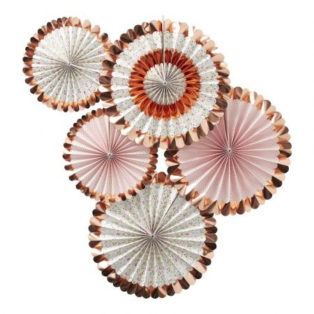 Lot de 5 rosaces fleuries rose gold