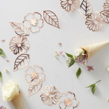 Guirlande fleurs rose gold