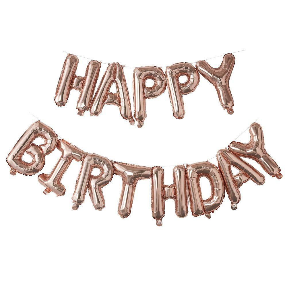 Guirlande De Ballons Rose Gold Happy Birthday