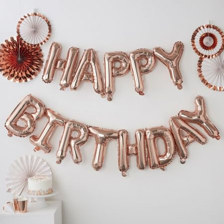 "Guirlande de ballons rose gold ""happy birthday"""