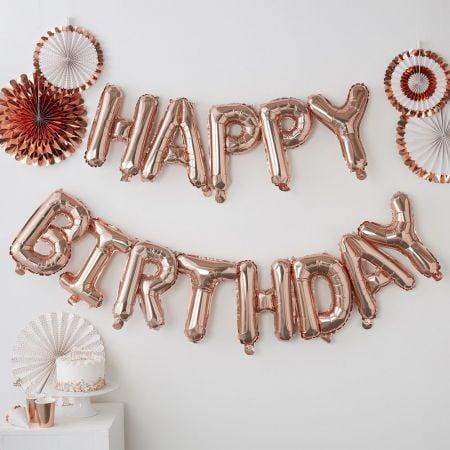 """Guirlande de ballons rose gold """"happy birthday"""""""