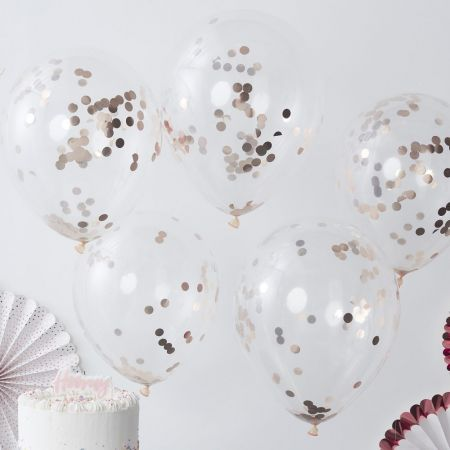 5 ballons transparents confettis rose gold