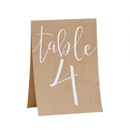 12 numéros de table kraft et blanc