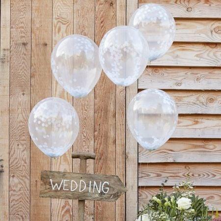 5 ballons transparents confettis blancs