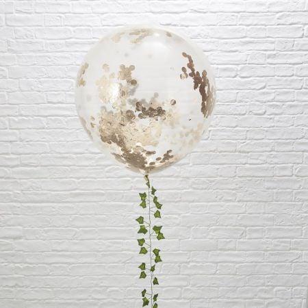 3 ballons géants confettis rose gold - 90 cm