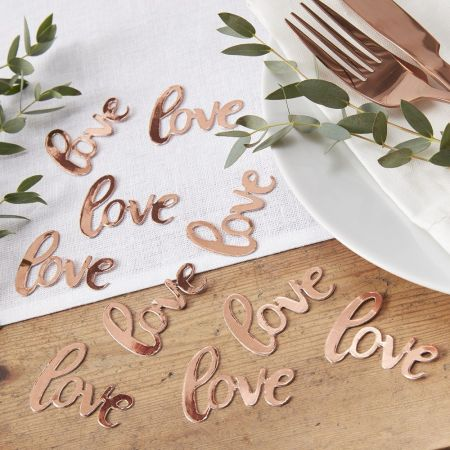 "20 confettis rose gold ""love"""
