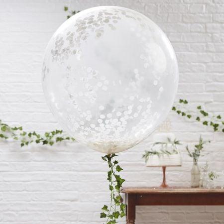 3 ballons géants confettis blancs - 90 cm