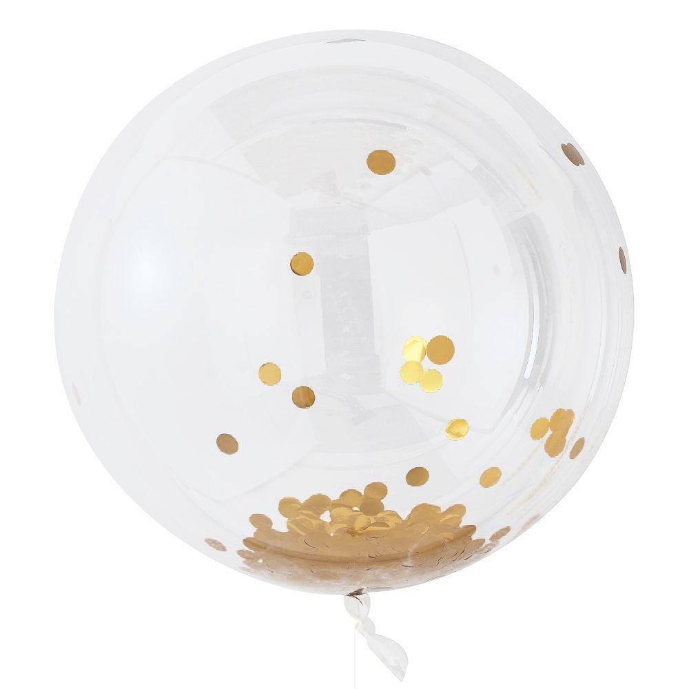 """3 ballons """"bulle"""" géants confettis dorés"""