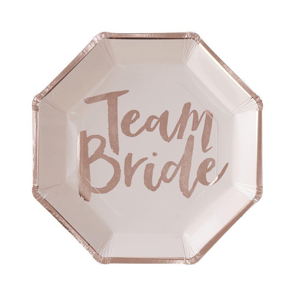 "8 assiettes rose et cuivre EVJF ""Team bride"""