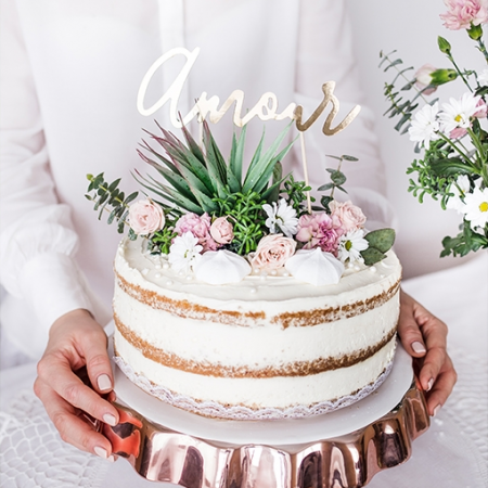 Cake topper AMOUR papier doré