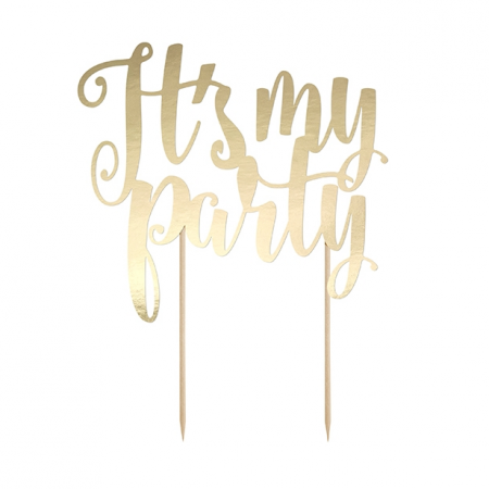 "Cake topper ""Party"" papier doré"