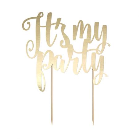 "Cake topper ""Party"" papier doré"