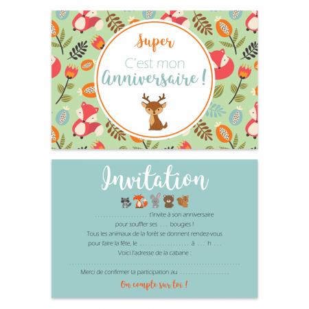 """5 cartes d'invitation """"Animaux de la forêt"""" + 5 enveloppes"""