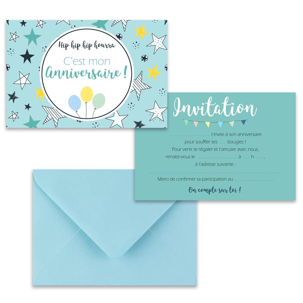 "5 cartes d'invitation ""Etoiles bleues"" + 5 enveloppes"