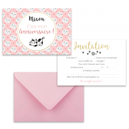 "5 cartes d'invitation ""Chat"" + 5 enveloppes"