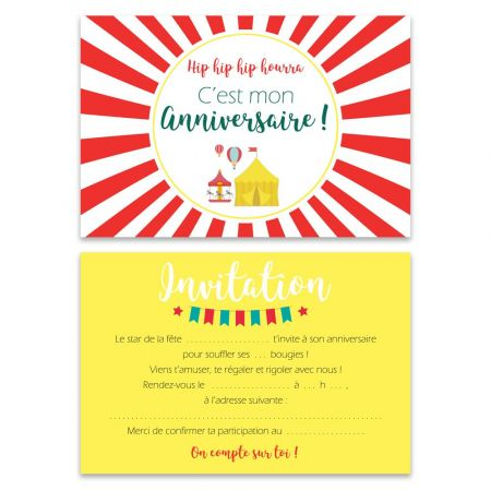 "5 cartes d'invitation ""Fête forraine"" + 5 enveloppes"