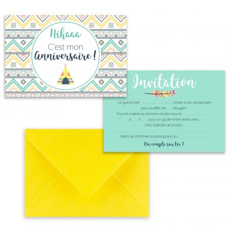 """5 cartes d'invitation """"Petit indien"""" + 5 enveloppes"""