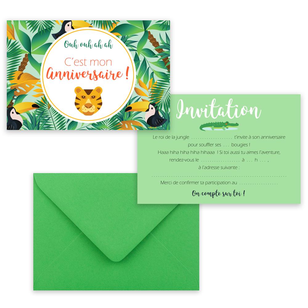 "5 cartes d'invitation ""Jungle"" + 5 enveloppes"