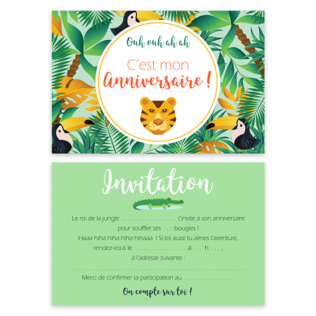 "5 cartes d'invitation ""Jungle"" + 5 enveloppes"