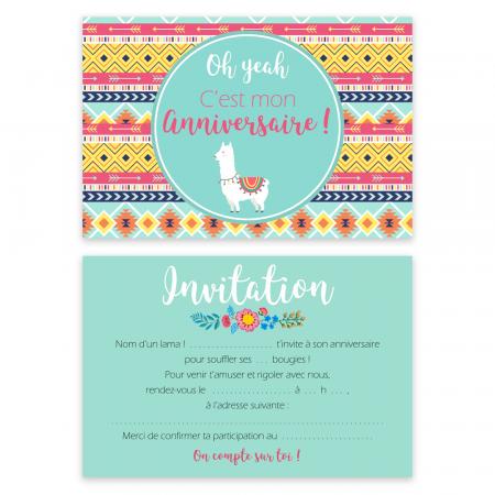 "5 cartes d'invitation ""Lama"" + 5 enveloppes"