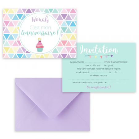 "5 cartes d'invitation ""Gourmandise"" + 5 enveloppes"