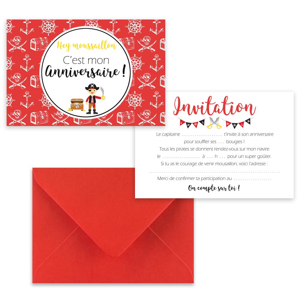 "5 cartes d'invitation ""Pirate"" + 5 enveloppes"