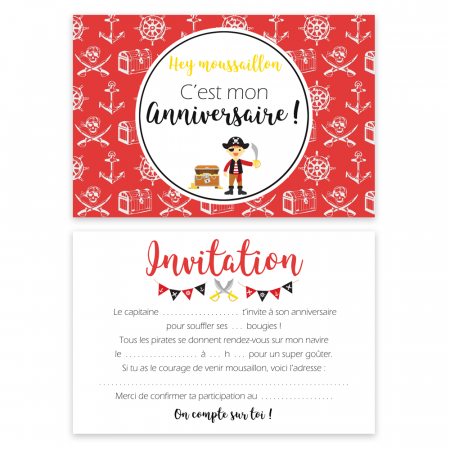 "5 cartes d'invitation ""Pirate"" + 5 enveloppes"